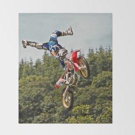 Motocross stuntman Throw Blanket
