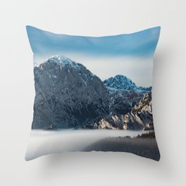 Sea of fog and snowy mountains Throw Pillow