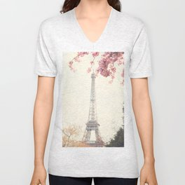Paris at Spring, Eiffel tower and cherrie blossoms Unisex V-Neck
