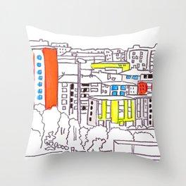 Suburb - city drawing Throw Pillow