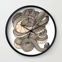 snake Wall Clocks featuring Snake  by AW Illustrations
