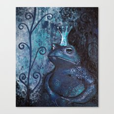 The Frog King - blue Canvas Print