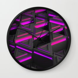 Pattern of grey triangle prisms with purple glowing lines Wall Clock