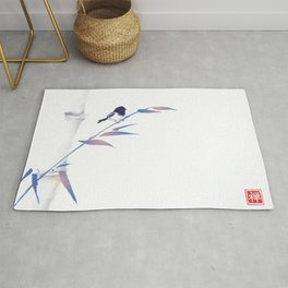 Blue bamboo tree and little bird hand drawn with ink in minimalist style on white background. Rug