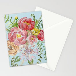 Bouquet of Watercolor on Blue Background Stationery Cards