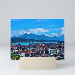Lake Lucerne, Switzerland Chapel Covered Bridge Panaromic View Mini Art Print