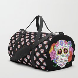 Sugar Skull with Flowers on Black Duffle Bag
