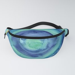 Abstract Blue Aqua Watercolor Painting Texture Fanny Pack