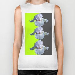 MODERN WHITE IRIS DIVIDED CHARTREUSE & GREY ART Biker Tank