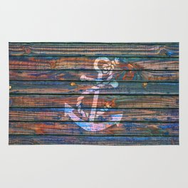 Nautical blue pink watercolor rustic wood white anchor Rug
