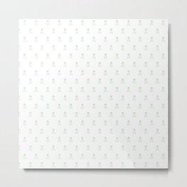 SKULLS PATTERN - LIGHT GREEN - LARGE Metal Print