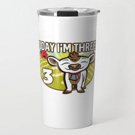 Kid's 3th Birthday Today I'm Three! Cute Cow Travel Mug