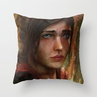 ellie goulding Throw Pillows featuring Ellie by Nicole M Ales
