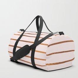 Blush Rose Gold Stripes Duffle Bag