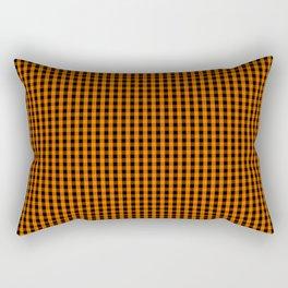 Dark Pumpkin Orange and Black Gingham Check Pattern Rectangular Pillow