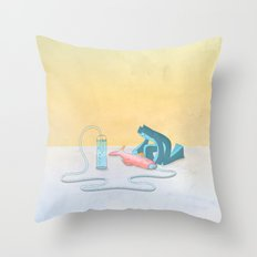 Cool Cat Blue - Helping the helpless Throw Pillow
