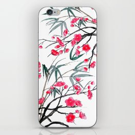 bamboo and red plum flowers in pink background iPhone Skin