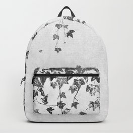 Hand Printed Black and White Trailing Ivy Backpack