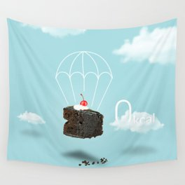 Isolated Chocolate cherry cake with parachute on blue sky background Wall Tapestry