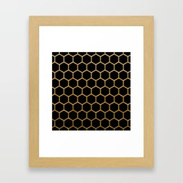 Black and gold foil honeycomb pattern Framed Art Print