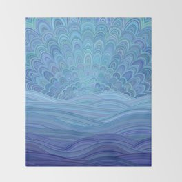 Blue Mandala Sunset at the Ocean Throw Blanket