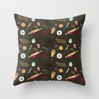die hard Throw Pillows featuring Die Hard Desserts by Ashley Hay