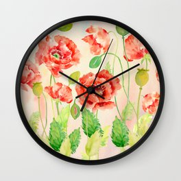 Watercolor Red Oriental Poppies Wall Clock