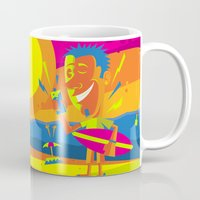 surfer Mugs featuring Surfer by Roberlan Borges