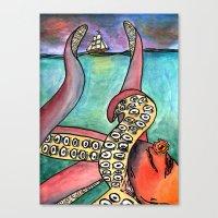 kraken Canvas Prints featuring Kraken by Indigo22
