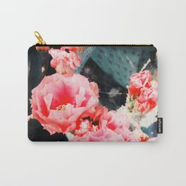 closeup blooming red cactus flower texture background Carry-All Pouch
