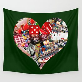 Heart Playing Card Shape - Las Vegas Icons Wall Tapestry