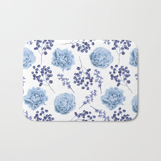 Sky Blue Roses Bath Mat