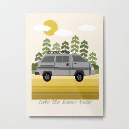 Van Life V - midwest van road tripping travel camping bus RV art Metal Print