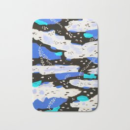 Spotted Abstract in Neon Blue Bath Mat