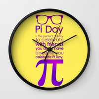 pi Wall Clocks featuring Pi Day by Square Lemon