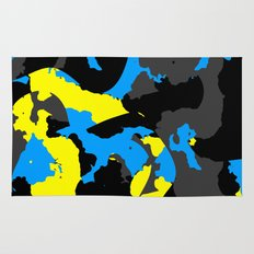 Black Blue yellow and Gray Abstract Rug