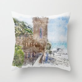 Aquarelle sketch art. Castle near beautiful azure sea and the rocky beach, Tyrrhenian sea in Tuscany, Italy Throw Pillow
