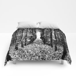 Magical Forest Black White Gray Comforters