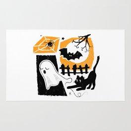 Beware of the Cat on Halloween Rug