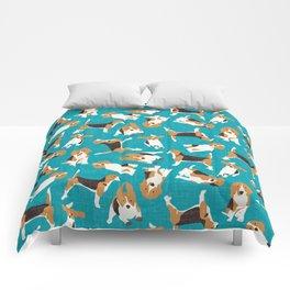 beagle scatter blue Comforters