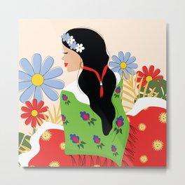 Folk Art Girl Metal Print