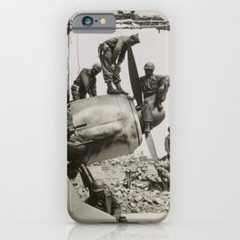 African American WWII Soldiers on Airplane in Oschersleben, Germany, 1945 iPhone Case