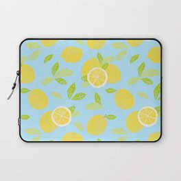 Bright And Sunny And Stamped Lemon Citrus Pattern Laptop Sleeve