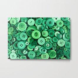 Button Green Metal Print