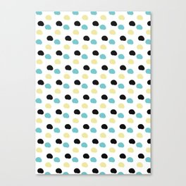 Blue and yellow polka dots Canvas Print