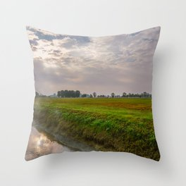 Mist rising from an irrigation ditch in a natural park during autumn Throw Pillow