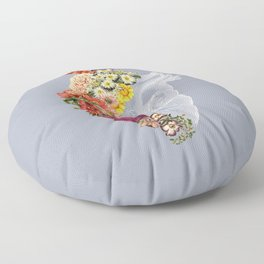 Flower Heart Spring Light Grey Floor Pillow