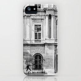 Skater   Black and White Skateboarding in France Kick Flip infront of the Flag iPhone Case