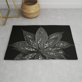 Gray Black Agave with Black Silver Glitter #2 #shiny #tropical #decor #art #society6 Rug