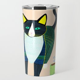 Graham the Cat with His Morning Coffee Travel Mug